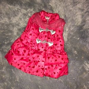 Little Lass Puffer Vest with Hearts